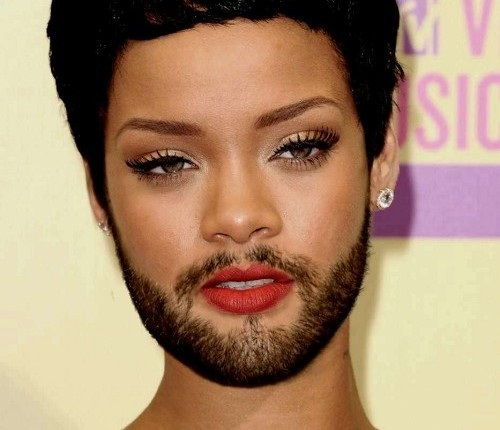 Rihanna-24 Hilarious Female Celebrities With Beard Photos