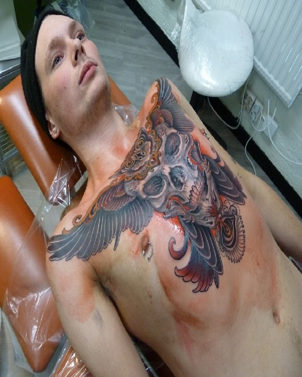 Owl and skull-15 Cool Tattoos For Men That Make You Say WOW!