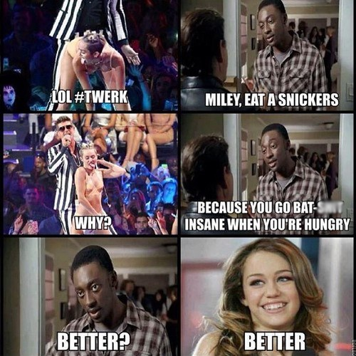 Snickers Helps-12 Best Miley Cyrus Memes That Will Make You Feel Bad For Laughing