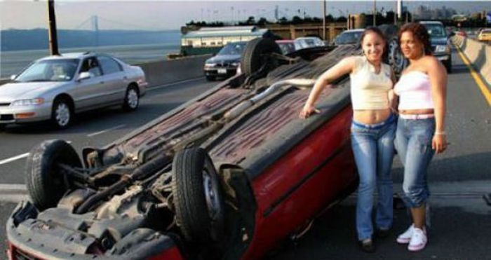 Posing By A Crash?-Pics Of Girls Doing Insane Things