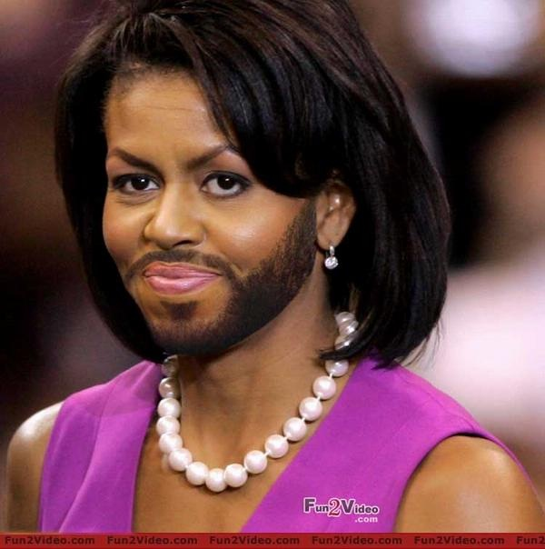 Michelle Obama-24 Hilarious Female Celebrities With Beard Photos