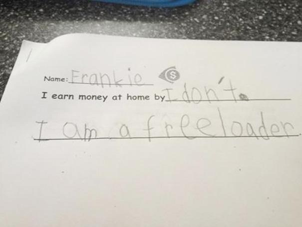 A freeloading child?-Hilarious And Honest Notes From Kids