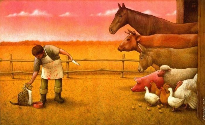 All of this for a cat-Thought-Provoking Satirical Illustrations By Pawel Kuczynski