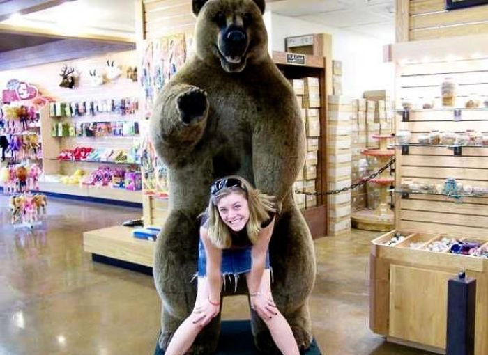 Gimme a Bear Hug!-People Being Nasty With Statues