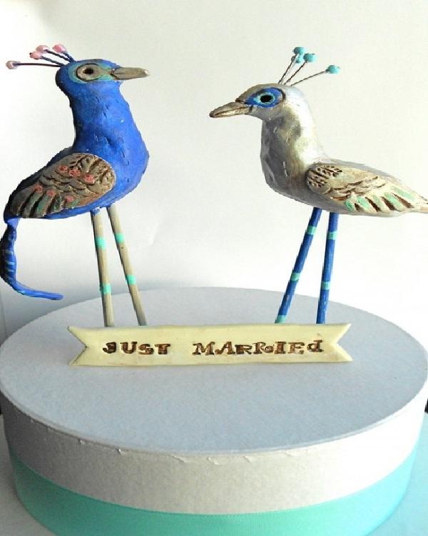 Peacocks-Unusual Wedding Cake Toppers