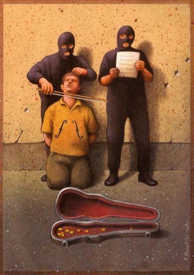 Bloody, but pleading-Thought-Provoking Satirical Illustrations By Pawel Kuczynski
