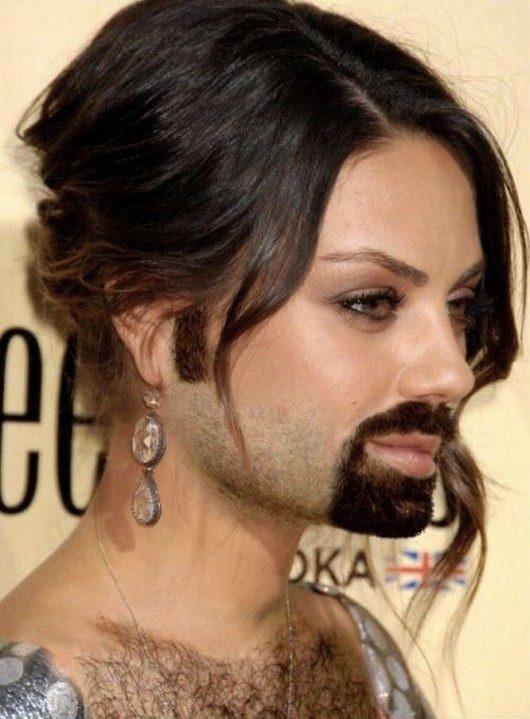 Mila Kunis-24 Hilarious Female Celebrities With Beard Photos
