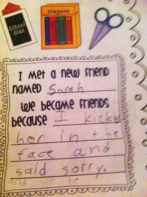 Nice way to meet them-Hilarious And Honest Notes From Kids