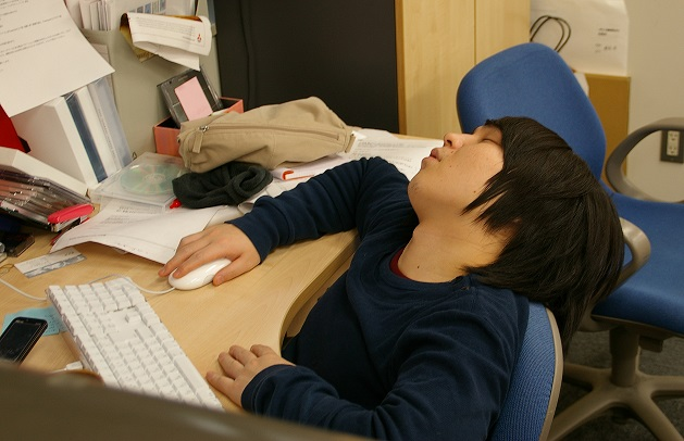taking a nap at work