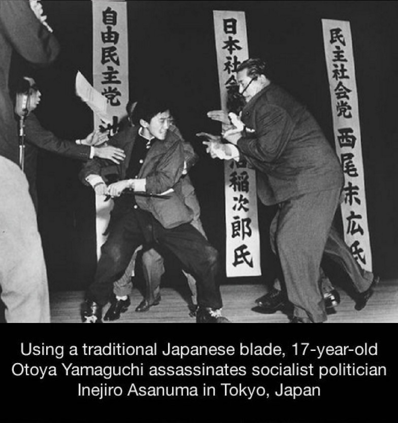 Japanese Politician Assassination-15 Historical Pictures That Are Really Shocking