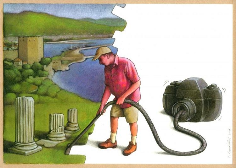Sucking up the beauty-Thought-Provoking Satirical Illustrations By Pawel Kuczynski