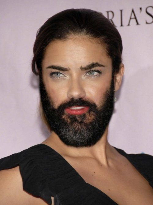 Adriana Lima-24 Hilarious Female Celebrities With Beard Photos