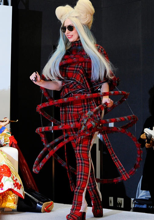 Tartan overload-Worst Lady Gaga Outfits