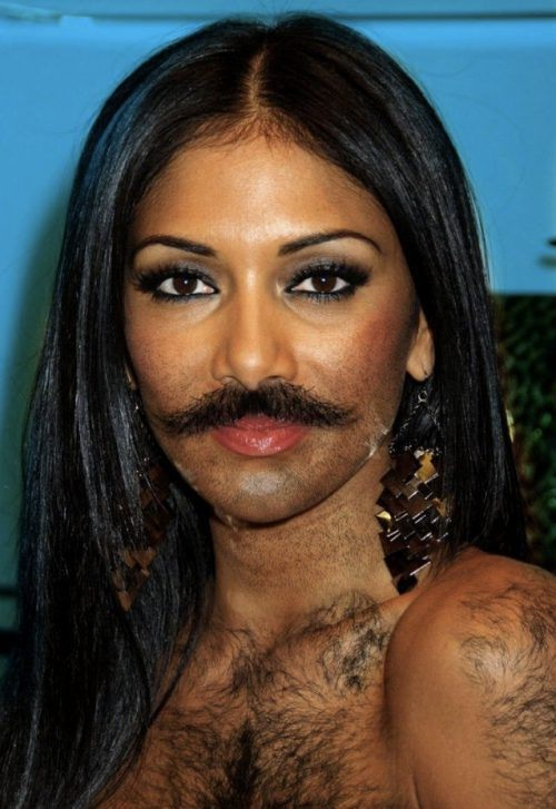 Nicole Scherzinger-24 Hilarious Female Celebrities With Beard Photos