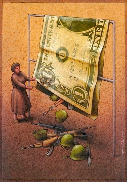 Getting the most out of $1-Thought-Provoking Satirical Illustrations By Pawel Kuczynski