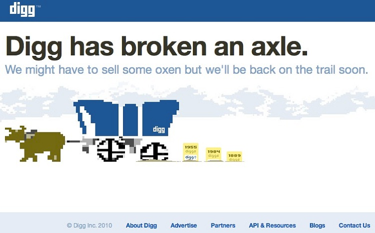 Digg admit's a failure-Funny Website Error Messages