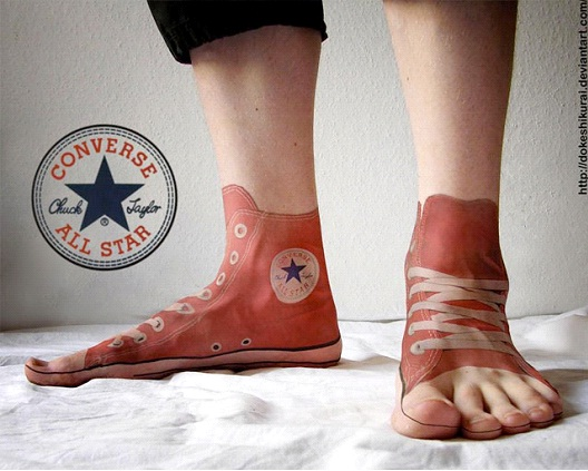 Converse Sneaker Tattoo-24 Most Amazing Illusion Tattoos