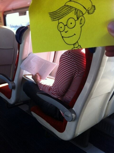 Ahh There He Is-Amazing Pics Of Train Passengers With Cartoon Heads By October Jones