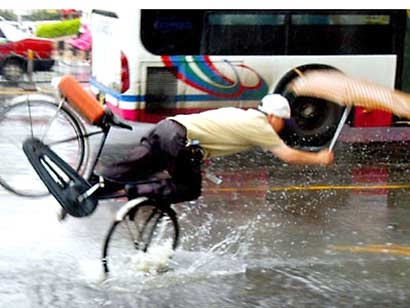Cycling in the rain-Clumsy People Unable To Do Simple Things