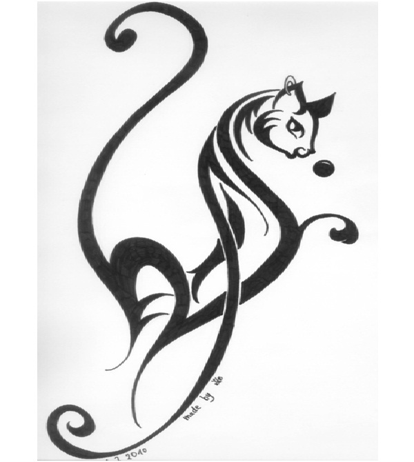 Hybrid Cat Tattoo Design-Cat Tattoos Designs