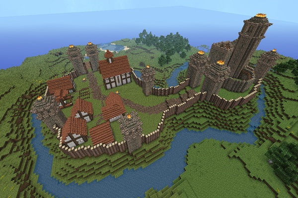 Motte and Bailey-Cool Things To Make In Minecraft