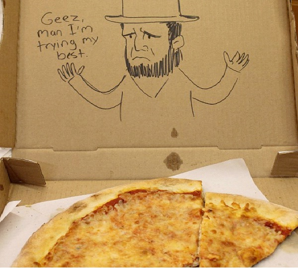 """Trying My Best-Funny """"Special Request"""" Pizza Box Drawings"""