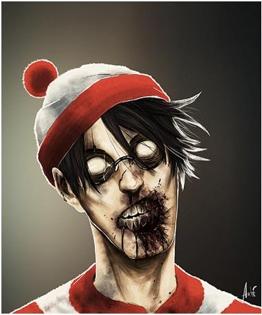 Waldo Zombie-Zombified Faces Of Famous Cartoons