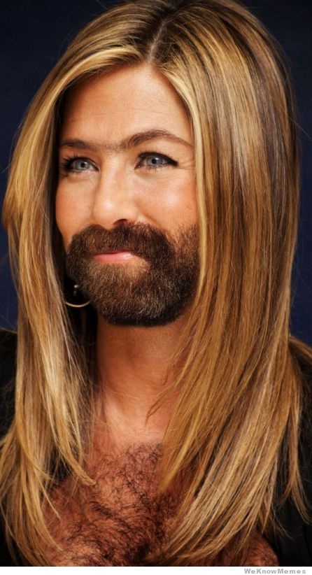 Jennifer Aniston-24 Hilarious Female Celebrities With Beard Photos