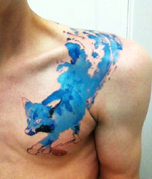 Blue Fox-Amazing Watercolor Painting Tattoos
