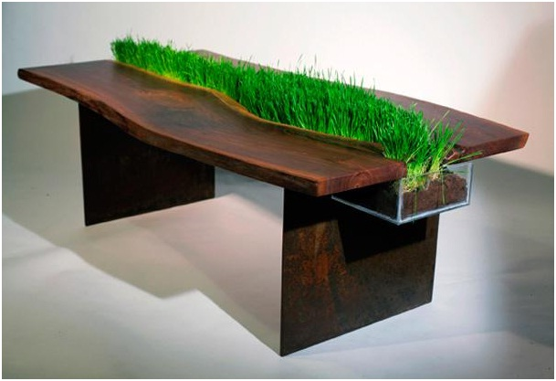 Cat Grass Table-Pet Friendly Furniture Ideas