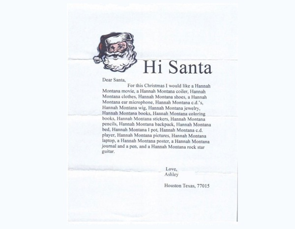 Hannah Montana Overload-12 Hilarious Letters Ever Written To Santa Claus
