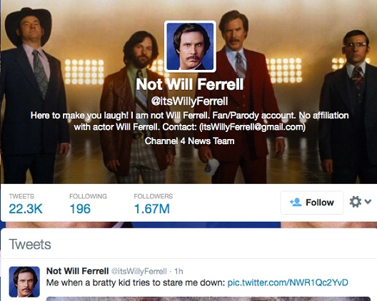 Not Will Ferrell @itsWillyFerrell-12 Funny Twitter Accounts To Follow