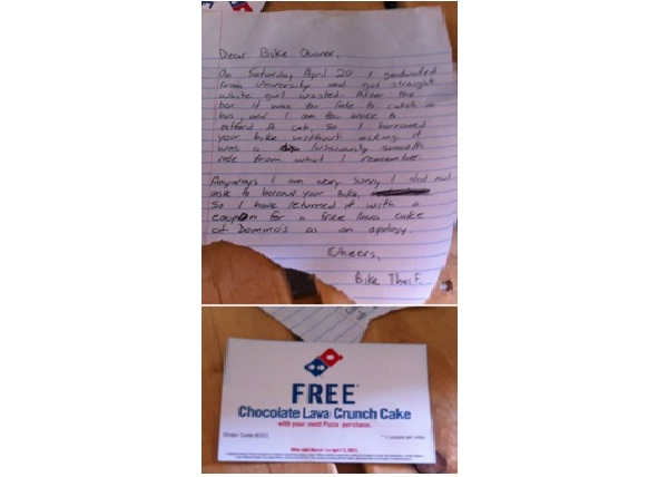 Stolen Bike and Freebie Apology-12 Hilarious Apology Notes Ever
