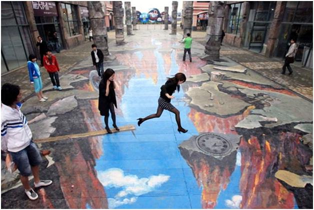 Jump The Cliff-Amazing 3D Street Art