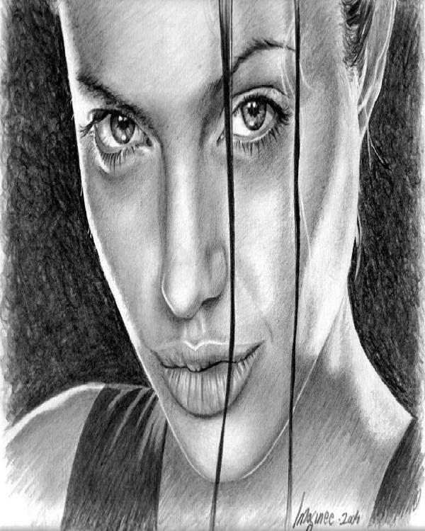 Angelina Jolie-Mind Blowing Pencil Art