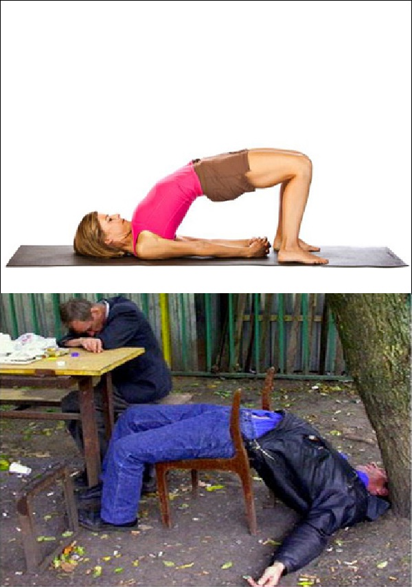 The arched back-Yoga Vs. Drunk Poses