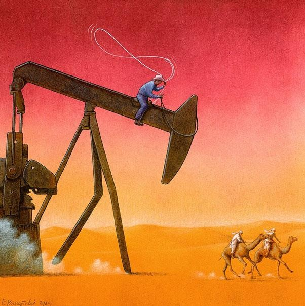 The advance of oil-Thought-Provoking Satirical Illustrations By Pawel Kuczynski