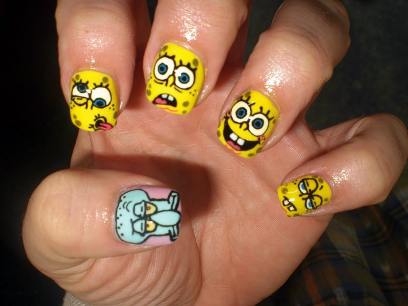 SpongeBob SquareNails -15 Amazing Nail Arts That You Must Try Once In Your Life