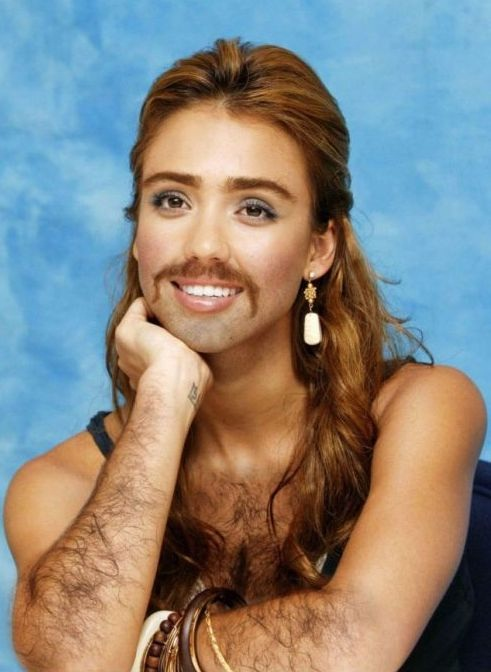 Jessica Alba-24 Hilarious Female Celebrities With Beard Photos
