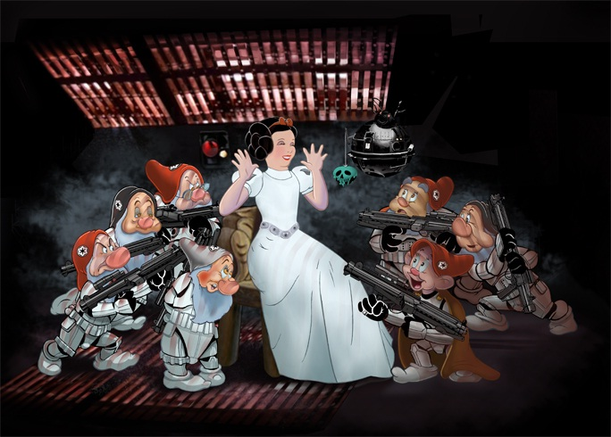 Are they robbing her?-Disney Characters In Star Wars Theme