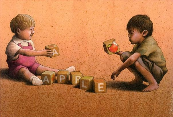 The difference in a word-Thought-Provoking Satirical Illustrations By Pawel Kuczynski
