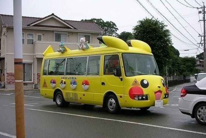 Pikachu School Bus in Japan-15 Weird Things That Can Happen Only In Japan