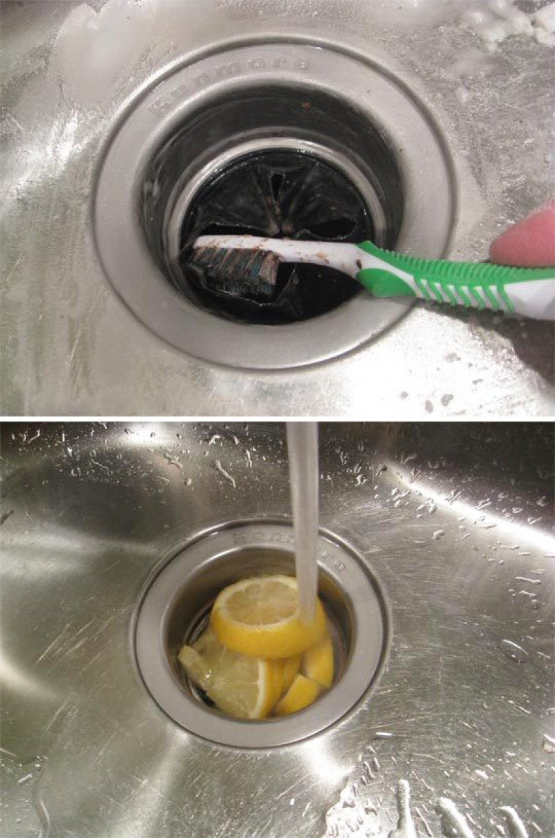 Lemon + Baking Soda + Vinegar + Tooth brush = Clean Sink-15 Home Cleaning Hacks That Make Cleaning Easy