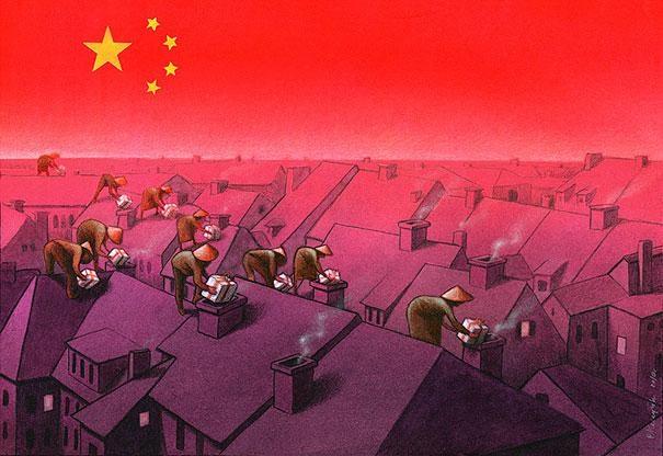Christmas from China-Thought-Provoking Satirical Illustrations By Pawel Kuczynski