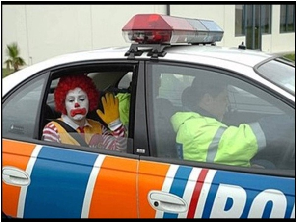 Ronald McDonald Not Happy Being Arrested-Sad Reality Of Ronald McDonald