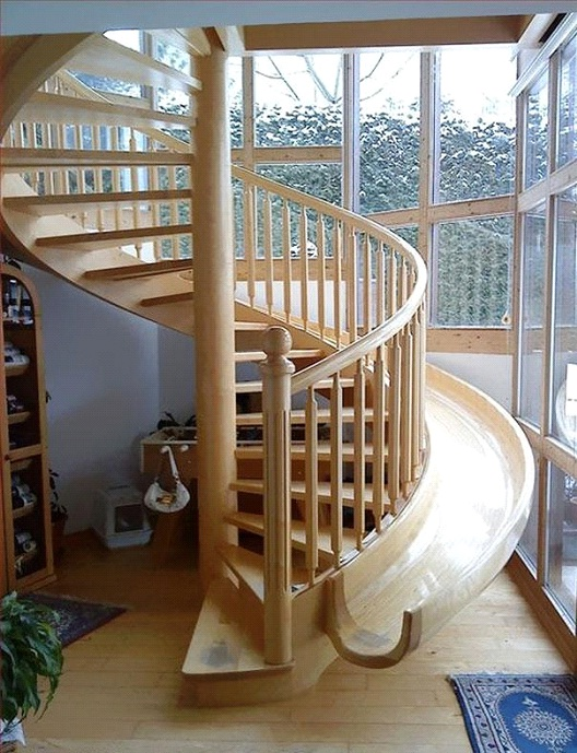 Spiral Staircase With Slide-Awesome Home Interior Designs Ever