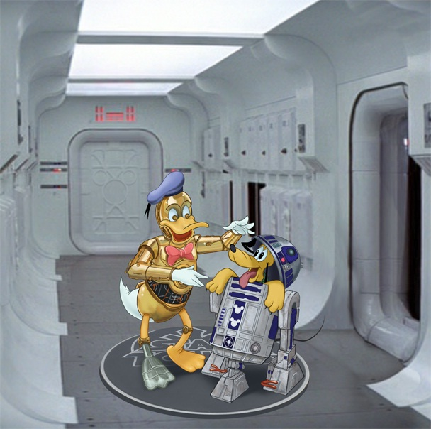 Donald and Pluto together-Disney Characters In Star Wars Theme