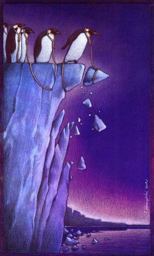 Balancing on the edge-Thought-Provoking Satirical Illustrations By Pawel Kuczynski
