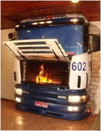 Bus Fire Place-Must Have Man Cave Accessories
