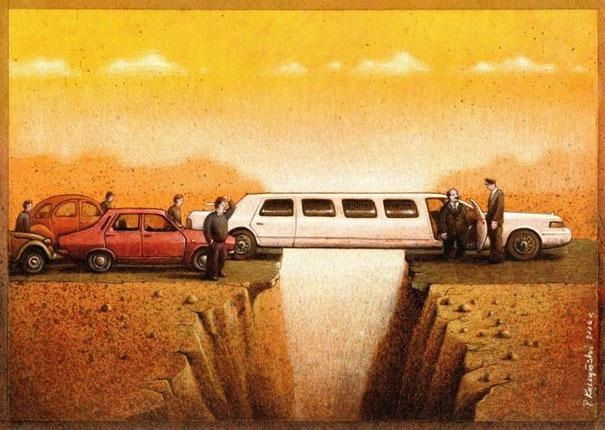 The great divide-Thought-Provoking Satirical Illustrations By Pawel Kuczynski